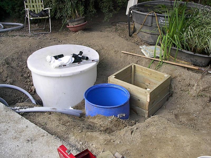 Photographs of a koi pond build for Settlement tank for koi pond